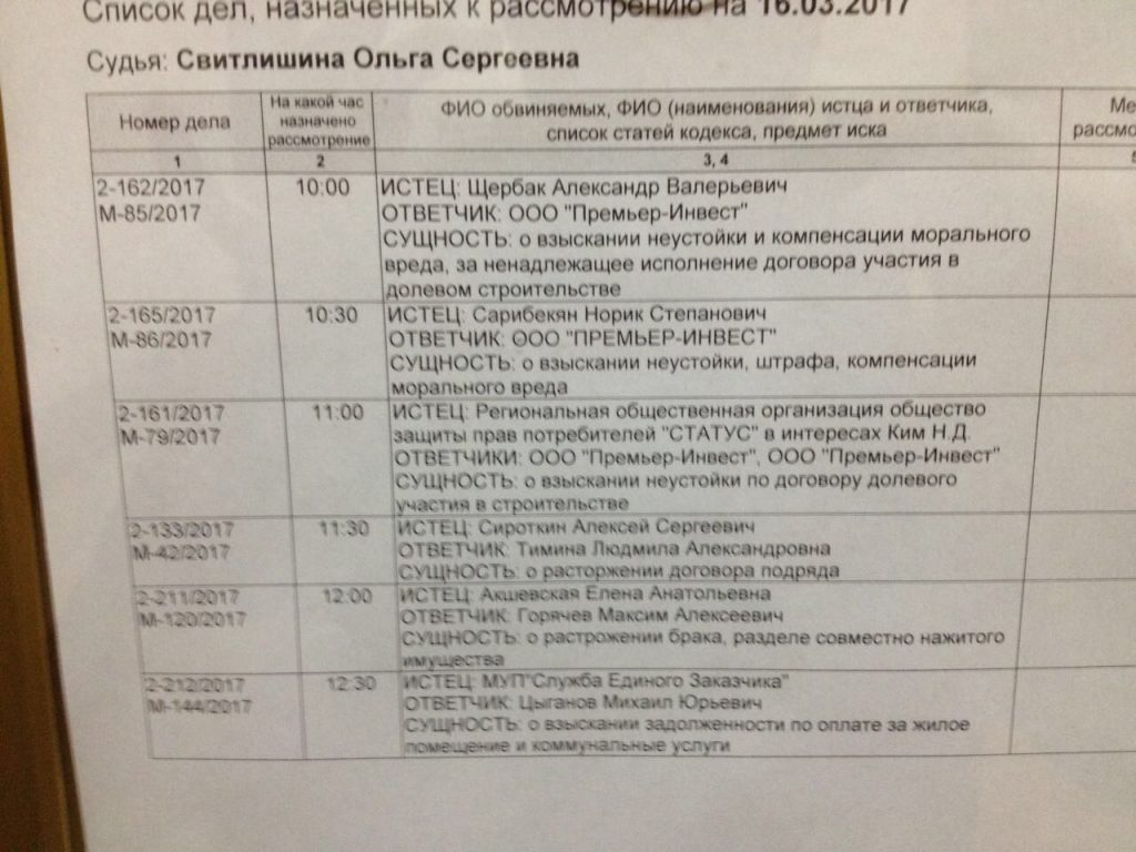 Застройщик Премьер-Инвест в Климовском суде